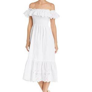 AQUA White off the shoulder dress